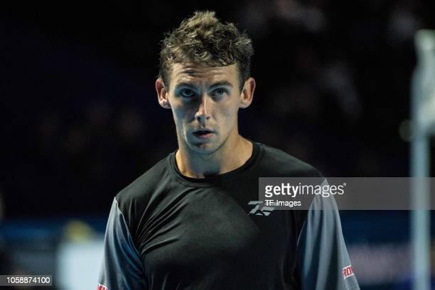 Henri Laaksonen of Switzerland looks on during the Swiss Indoors Basel tennis match between Henri Laaksonen and Marco Cecchinato on October 22, 2018...