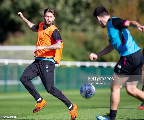 Henri Lansbury of Aston Villa in action during a training session at the club's training ground at Bodymoor Heath on September 25 2018 in Birmingham...