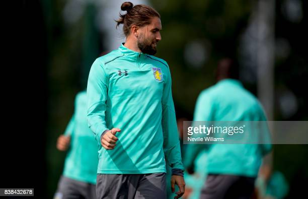 Henri Lansbury of Aston Villa in action during a training session at the club's training ground at Bodymoor Heath on August 24 2017 in Birmingham...
