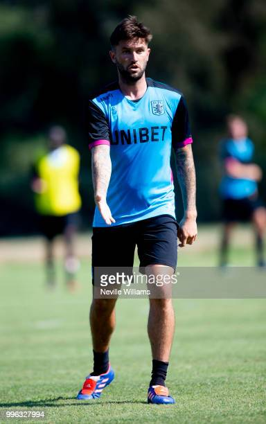 Henri Lansbury of Aston Villa in action during an Aston Villa training session at the club's training camp on July 11 2018 in Faro Portugal