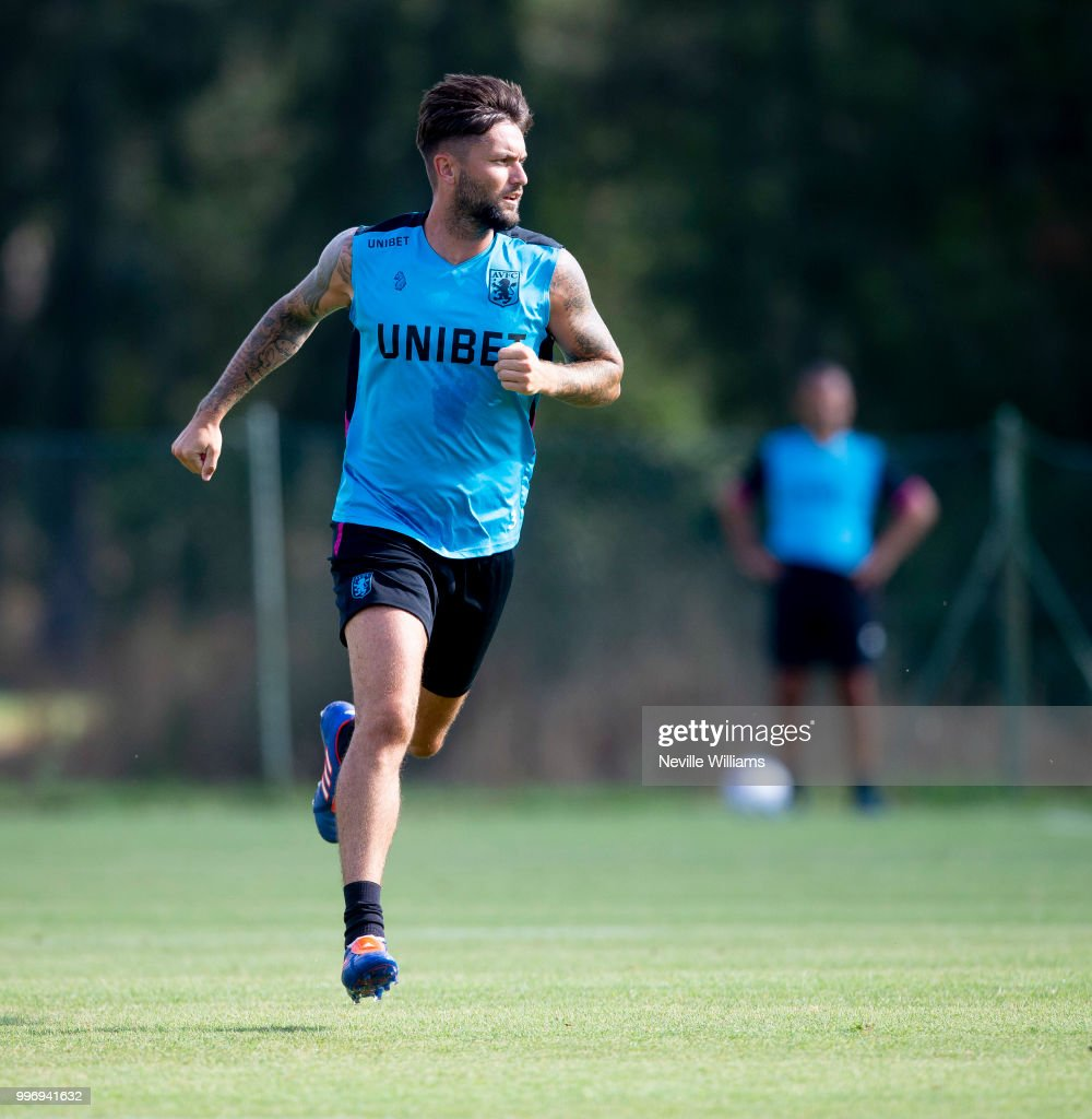 Henri Lansbury of Aston Villa in action during an Aston Villa training session at the club's training camp on July 12, 2018 in Faro, Portugal.