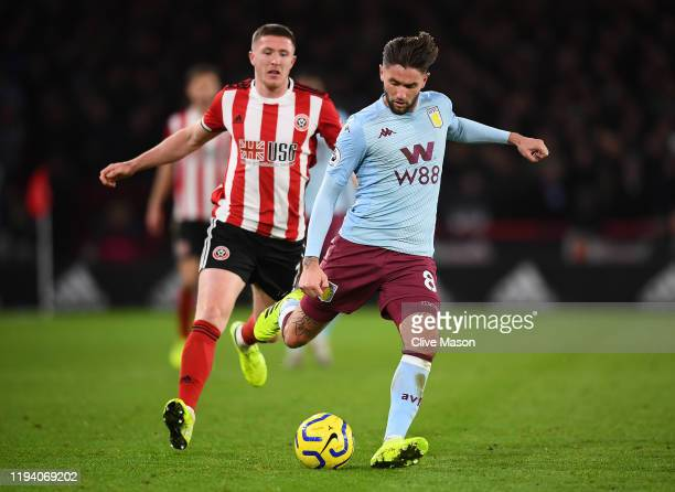 Henri Lansbury of Aston Villa in action during the Premier League match between Sheffield United and Aston Villa at Bramall Lane on December 14, 2019...