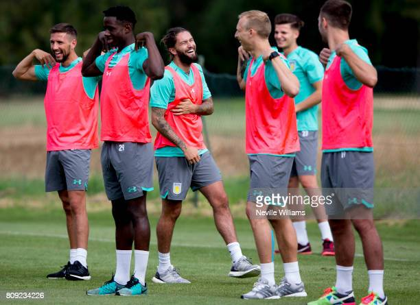 Henri Lansbury of Aston Villa in action with team mates during a Aston Villa training session at the club's training camp at Faro on July 05 2017 in...