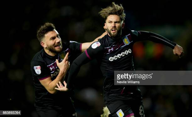 Henri Lansbury of Aston Villa scores for Aston Villa during the Sky Bet Championship match between Leeds United and Aston Villa at Elland Road on...