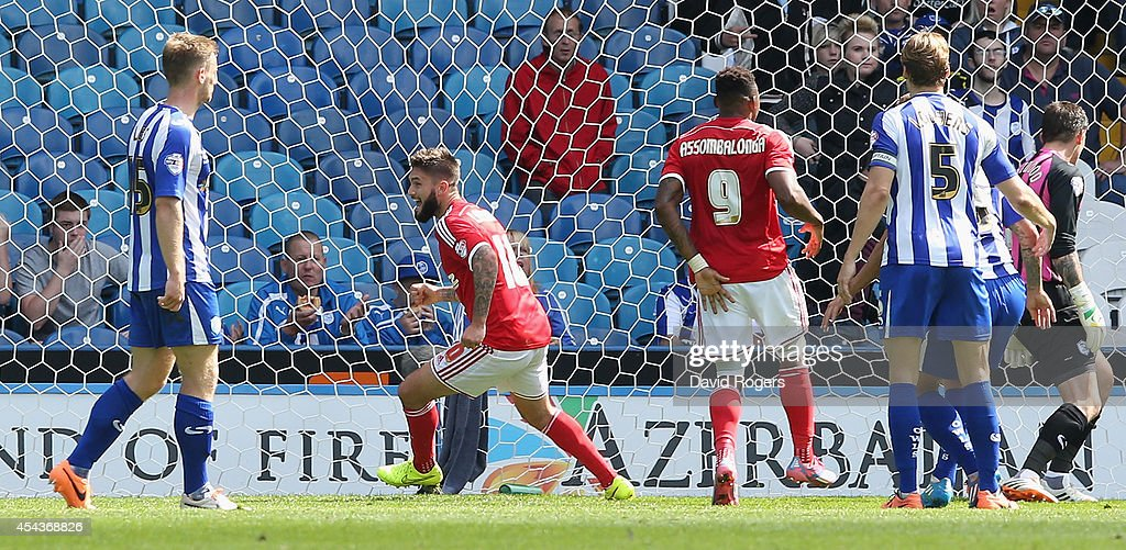 Henri Lansbury of Nottingham Forest celebrates after scoring the match winning goal during the Sky Bet Championship match between Sheffield Wednesday and Nottingham Forest at Hillsborough Stadium on August 30, 2014 in Sheffield, England.
