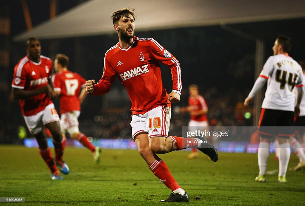 Henri Lansbury of Nottingham Forest celebrates as he scores their second goal during the Sky Bet Championship match between Fulham and Nottingham Forest at Craven Cottage on January 21, 2015 in London, England.