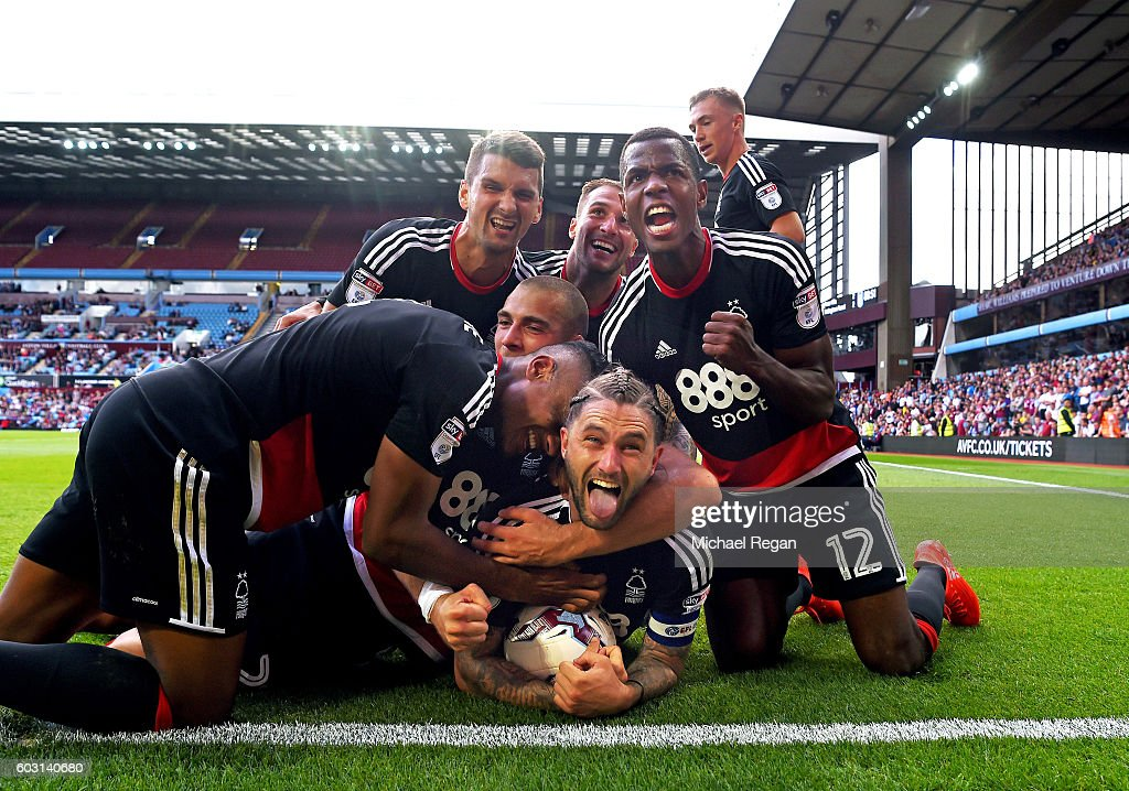 Henri Lansbury of Notts Forest celebrates scoring to make it 2-2 during the Sky Bet Championship match between Aston Villa and Nottingham Forest at Villa Park on September 11, 2016 in Birmingham, England.