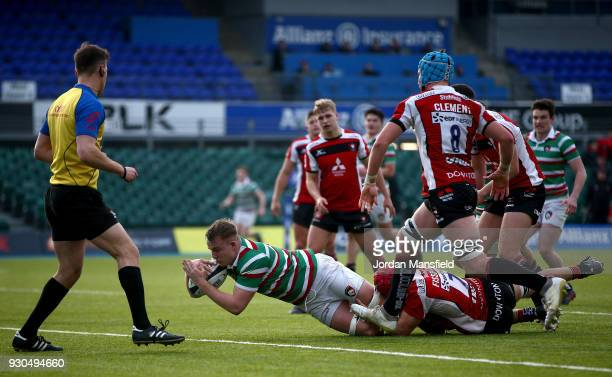 Henri Lavinof Leicester Tigers U18 scores a try during the Premiership Rugby U18s Academy Final between Leicester Tigers U18 and Gloucester Rugby U18...