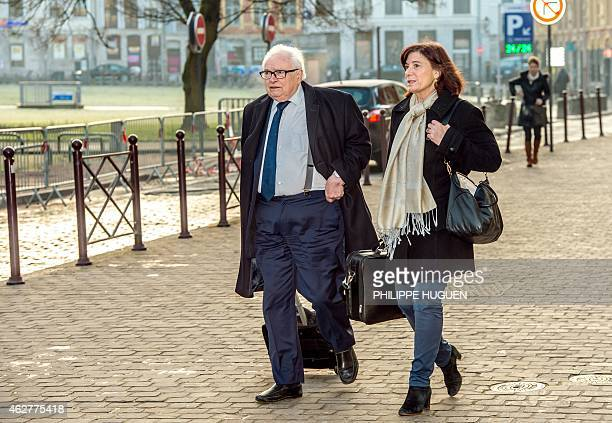 Henri Leclerc and Frederique Beaulieu lawyers of former IMF chief and defendant Dominique StraussKahn arrive at the courthouse in Lille northern...