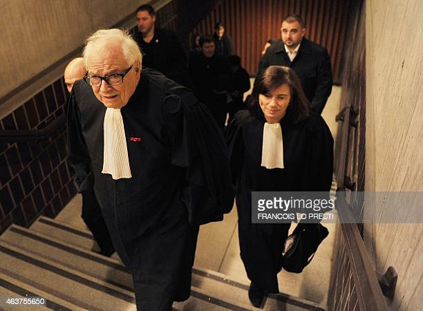 Henri Leclerc and Frederique Beaulieu lawyers of former IMF chief and defendant Dominique StraussKahn arrive to speak to the press at the courthouse...