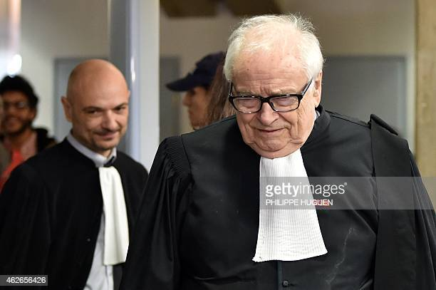 Henri Leclerc lawyer of former IMF chief and defendant Dominique StraussKahn arrives at the Lille courthouse northern France on February 2 on the...