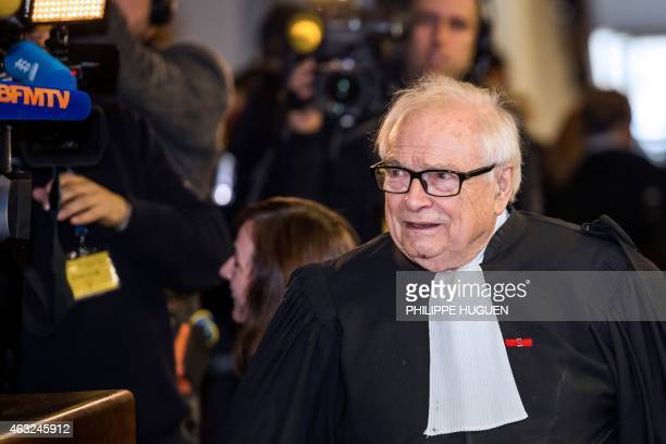 Henri Leclerc lawyer of former IMF chief and defendant Dominique StraussKahn arrives at the Lille courthouse northern France to attend a trial where...