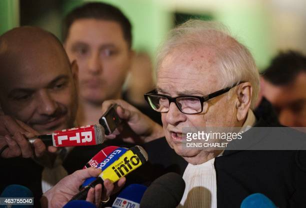Henri Leclerc one of the lawyers of former IMF chief and defendant Dominique StraussKahn speaks to the press at the courthouse in the northern French...