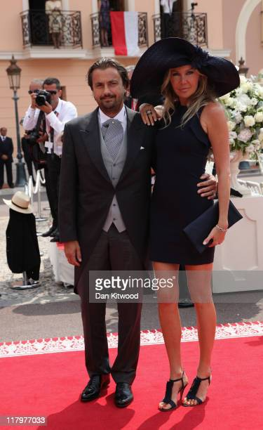Henri Leconte and Florentine Leconte attend the religious ceremony of the Royal Wedding of Prince Albert II of Monaco to Princess Charlene of Monaco...