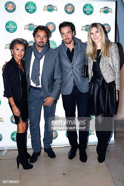 Henri Leconte and his partner Maria Dowlatshahi his Son Maxime Leconte with his partner Solne Froment attend the Trophy of the Legends Perrier Party...