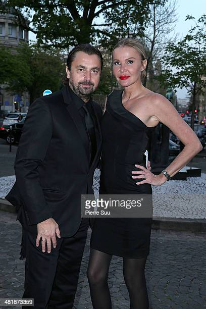Henri Leconte and his wife Florentine attends the UNITAID Party at the Palais d'iena on April 1 2014 in Paris France