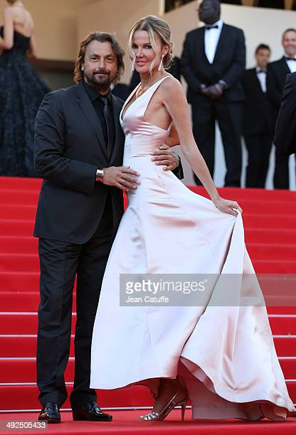Henri Leconte and his wife Florentine Leconte attend 'Deux Jours Une Nuit' premiere during the 67th Annual Cannes Film Festival on May 20 2014 in...