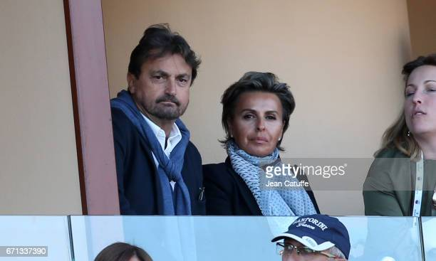 Henri Leconte and Maria Dowlatshahi attend day 6 of the MonteCarlo Rolex Masters an ATP Tour Masters Series 1000 on the clay courts of the MonteCarlo...
