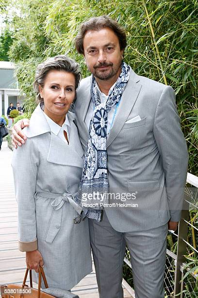 Henri Leconte and Maria Dowlatshahi attend Day Fourteen Women single's Final of the 2016 French Tennis Open at Roland Garros on June 4 2016 in Paris...
