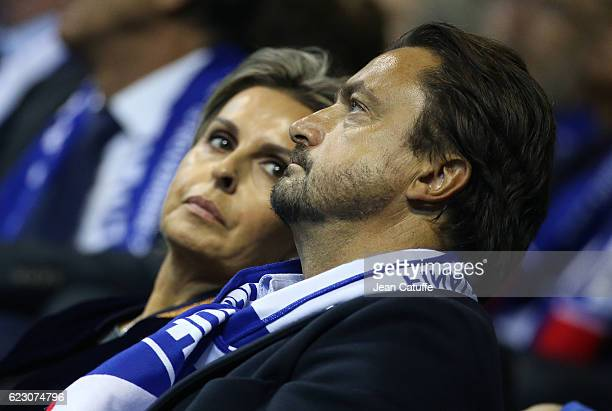 Henri Leconte and Maria Dowlatshahi attend the 2016 Fed Cup Final between France and Czech Republic at Rhenus Sport arena on November 13 2016 in...