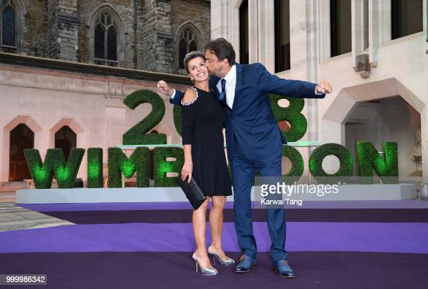 Henri Leconte and Maria Dowlatshahi attend the Wimbledon Champions Dinner at The Guildhall on July 15 2018 in London England