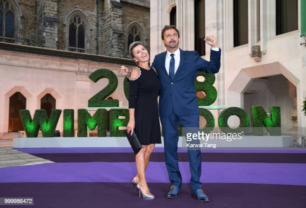 Henri Leconte and Maria Dowlatshahi attend the Wimbledon Champions Dinner at The Guildhall on July 15, 2018 in London, England.