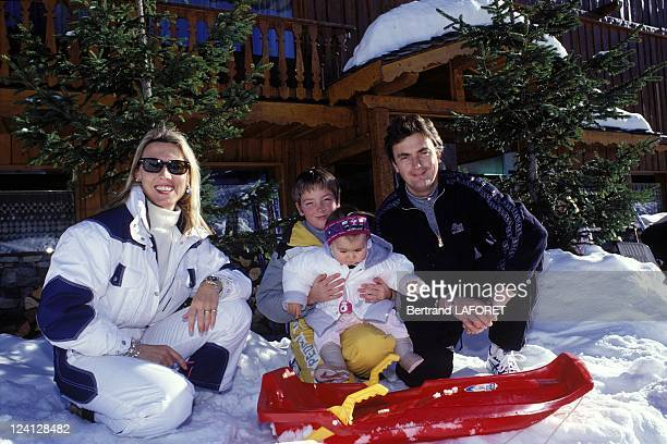 Henri Leconte and Marie Sarah in family in Courchevel, France on January 24, 1997 - With Sarah Luna & Maxime.