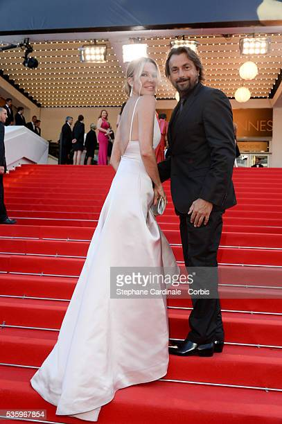 Henri Leconte and wife Florentine at the Deux Jours Une Nuit Premiere during the 67th Cannes Film Festival
