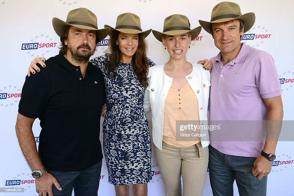 Henri Leconte, Annabel Croft, Barbara Schett and Mats Wilander wearing their Akubra Hats during the Eurosport tennis panel of experts at Hilton on the Park on January 15, 2013 in Melbourne, Australia.
