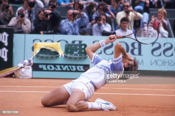 Henri Leconte gagne son quart de finale à Roland Garros le 4 juin 1986 Paris France