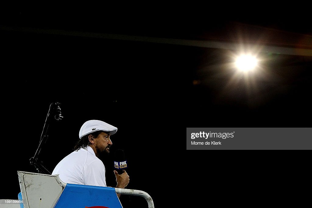 Henri Leconte of France acts as umpire during the World Tennis Challenge at Memorial Drive on January 9, 2013 in Adelaide, Australia.