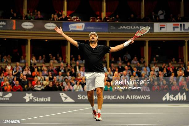 Henri Leconte of France celebrates a point during the match against Mats Wilander of Sweden on Day Three of the Statoil Masters Tennis at the Royal...