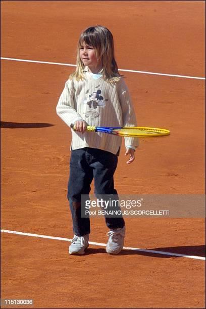 Henri Leconte playing tennis with his children Sarah Luna and Maxime in Monaco City Monaco on April 20 2001 Sarah Luna Leconte