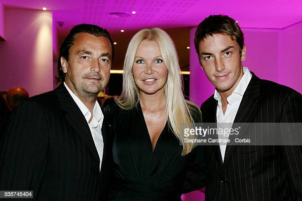 """Henri Leconte with his son Maxime and his wife Florentine at the opening party of the new """"Novotel Paris Est""""."""