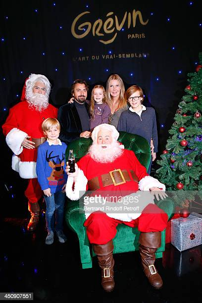 Henri Leconte with his wife Florentine Leconte and their children Marylou Ulysse and Jules with the model and the Christmas Father Waxwork attend...