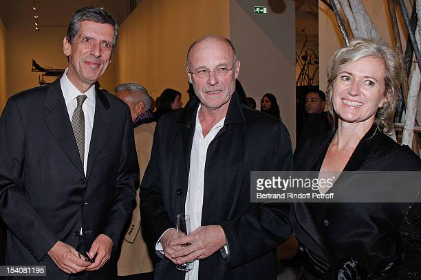Henri Loyrette President of the Louvre museum artist Anselm Kiefer and Kiefer's companion Renate Graf attend the opening of Thaddaeus Ropac's new...