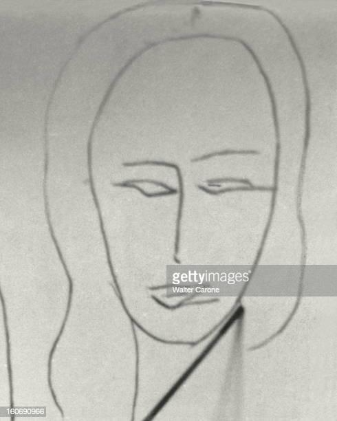 Henri Matisse In Nice. Détail d'une des figures de la chapelle de VENCE qu'Henri MATISSE, dans la chambre-atelier de l'ancien hôtel Régina sur la...