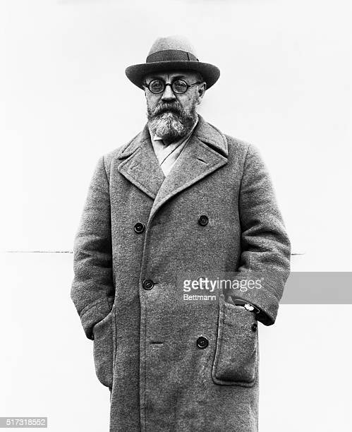 Henri Matisse, noted French artist and creator of the most ultra-modernistic designs, as he arrived from Europe on the S.S. Ile de France for a visit...