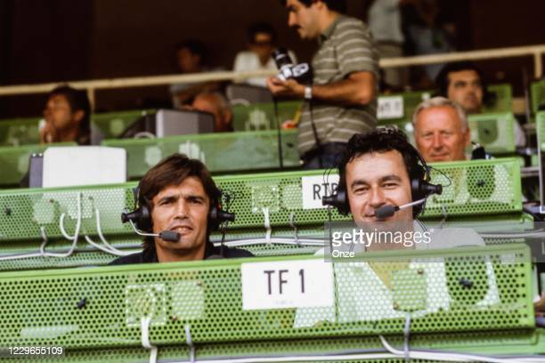 Henri Michel and Michel Denisot, journalist TF1 during the second stage of the 1982 FIFA World Cup match between Italy and Brazil, at Sarria Stadium,...