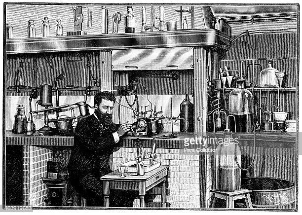 Henri Moissan French chemist c1883 Moissan working on fluorine in his laboratory at l'Ecole de pharmacie Paris He isolated fluorine in 1883 Later in...