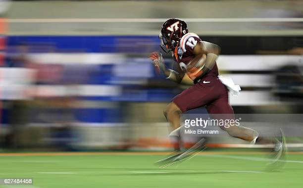 Henri Murphy of the Virginia Tech Hokies retuns a kick during the ACC Championship against the Clemson Tigers on December 3 2016 in Orlando Florida