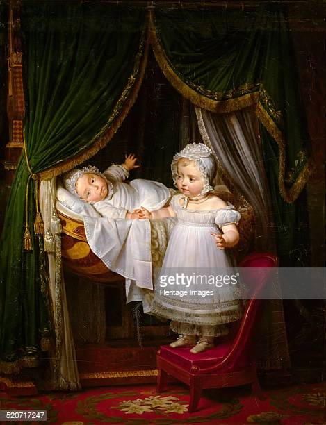Henri of Artois Count of Chambord duc de Bordeaux in his cradle with his sister Louise Marie Thérèse d'Artois Found in the collection of Musée de...