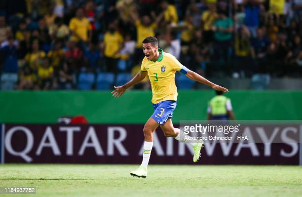 Henri of Brazil celebrates after scoring the first goal of his team during the match against Angola for the FIFA U17 World Cup Brazil 2019 on...