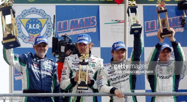 Henri Pescarolo and PescaroloJudd C60 French drivers Franck Montagny Sebastien Loeb and Eric Helary celebrate on the podium of the 2006 le Mans...