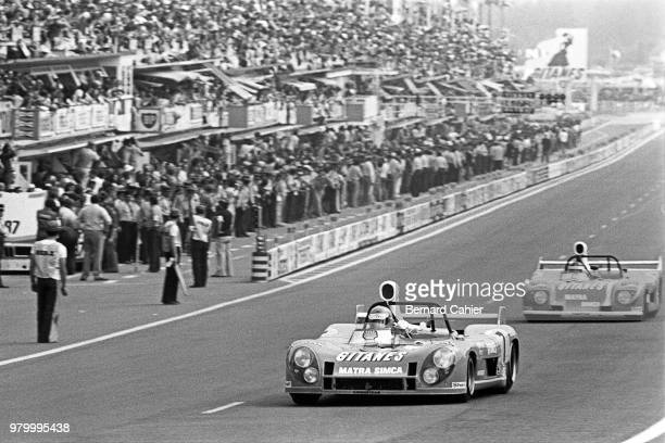 Henri Pescarolo MatraSimca MS670C 24 Hours of Le Mans Le Mans 16 June 1974 Henri Pescarolo winner of the 1974 24 Hours of Le Mans ahead of teammate...