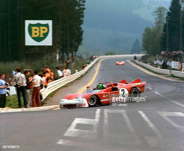 Henri PescaroloAndrea de Adamich's Alfa Romeo T33 finished 3rd Spa 1000kms race Belgium 9 May 1971