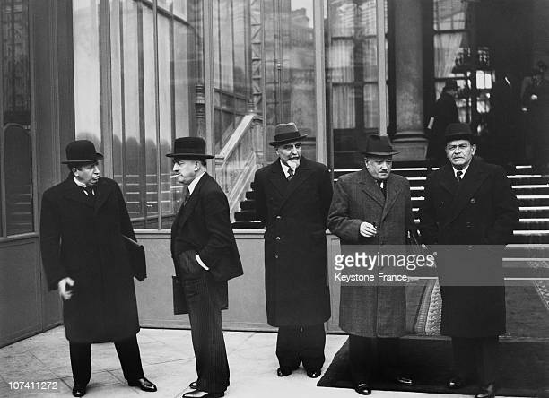 Henri Queuille Georges Mandel On The Exit Of Elysee In Paris In 1936