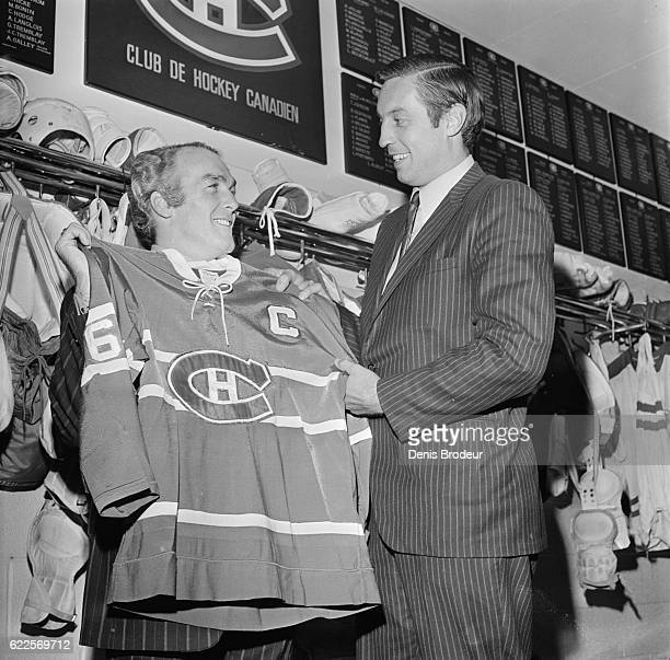 Henri Richard and Jean Beliveau of the Montreal Canadiens pose for a photo at the Montreal Forum circa 1971 in Montreal Quebec Canada