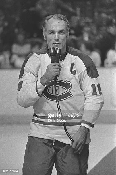 Henri Richard of the Montreal Canadiens gives a speech during a ceremony to retire his Jersey on December 10, 1975 at the Montreal Forum in Montreal,...