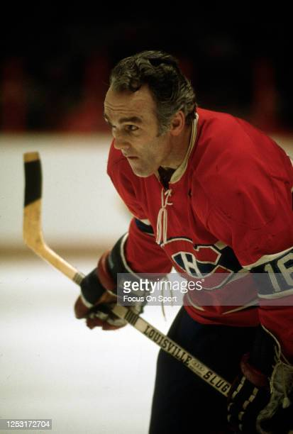 Henri Richard of the Montreal Canadiens looks on against the Philadelphia Flyers during an NHL Hockey game circa 1974 at The Spectrum in...
